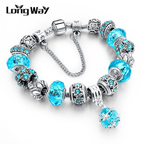 Jewellery LongWay European Style Authentic Tibetan Silver Blue Crystal Charm Bracelet for Women Original DIY Beads Jewelry Christmas Gift