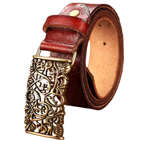 Women's Genuine Cow Leather Wide Belt