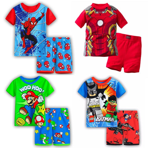 Boys pyjamas set wear Batman spiderman Iron Man Short sleeves top