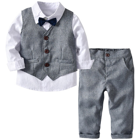 Boys Formal Suit Wear Grey Vest + Shirt + Trousers set Outfit