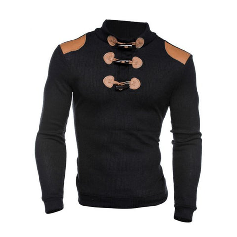 Men's Ribbed Shoulder Patch Long Sleeve Sweater