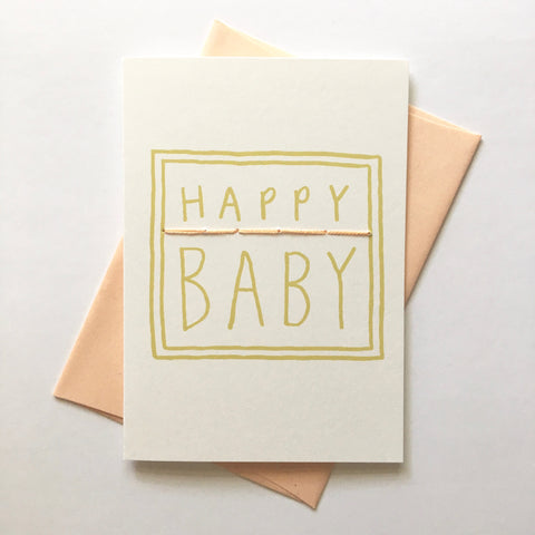 happy baby - folded hand stitched card
