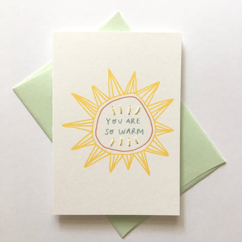 you are so warm - folded hand stitched card