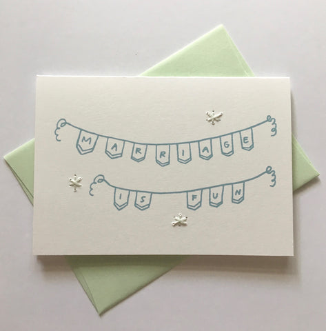 marriage is fun - folded hand stitched card