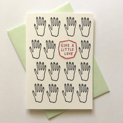 give a little love - folded hand stitched card