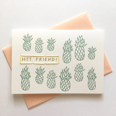 hey friend - folded hand stitched card