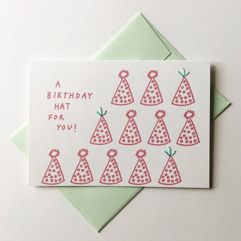 a birthday hat for you! - folded hand stitched card