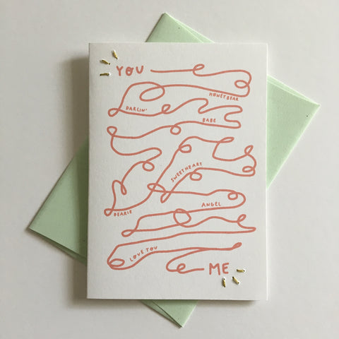 you and me - folded hand stitched card