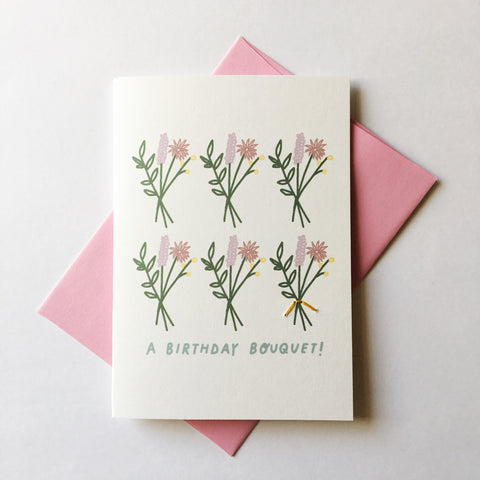 a birthday bouquet - folded hand stitched card