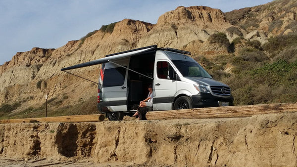 Mercedes Sprinter van with awning
