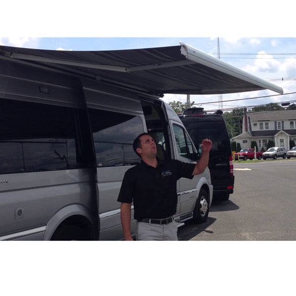 Leggless self supporting awning for Sprinter vans, RVs and motorhmes