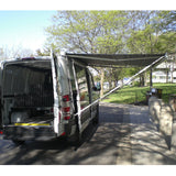 Fiamma awning with support legs attached to body