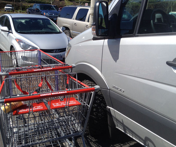 Sprinter front fender flares protect against shopping cart damage