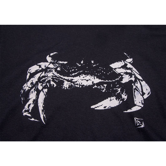 Mens Crab Tee Front Print- Black