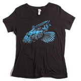Ladies Lingcod Relaxed Fit V Neck - black