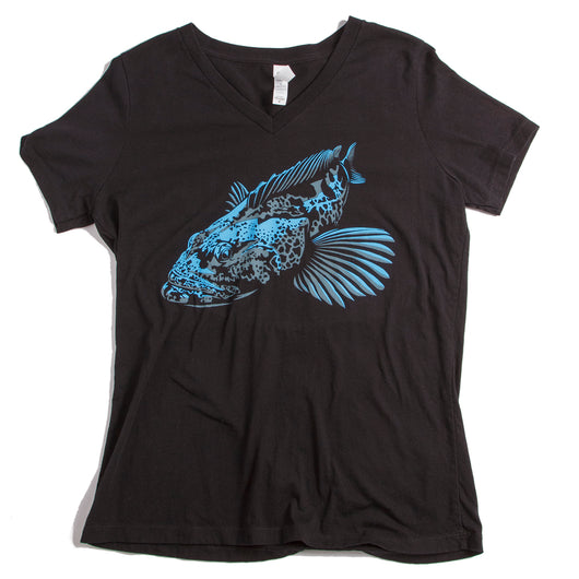 Ladies Nick Ingram's Lingcod Relaxed Fit V Neck - black