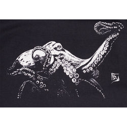 Mens Long Sleeve Octopus Tee - Black