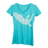 Ladies Sea Otter V Neck - Tahitian Blue