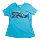 Ladies Wave Relaxed Fit V Neck - blue