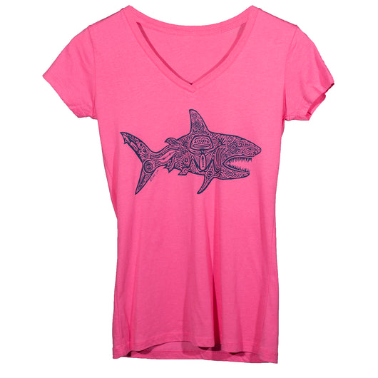 Ladies V Neck Shark - Pink