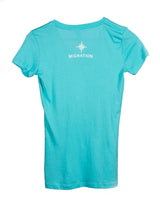 Ladies Humpback and Calf V Neck - Tahitian Blue