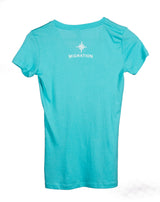 Ladies V Neck Shark - Tahitian Blue