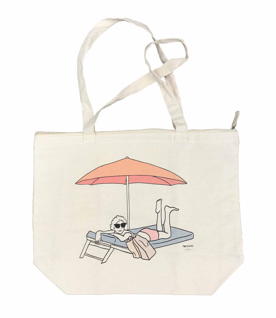 Beach bag pastel colours - Madame Monicord under the Parasol