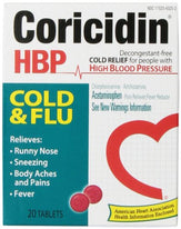 Coricidin HBP Cold Flu Tablets 20 Each