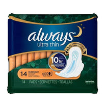 Always Ultra Thin Overnight with Wings Unscented Pads 14