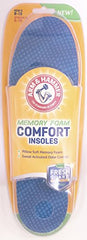 Arm & Hammer Memory Foam Comfort Insole, Men Size 8-13, Women Sizes 6-10, 1 Pair