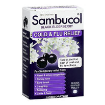 Sambucol Black Elderberry Cold & Flu Relief Homeopathic 30 Tablets