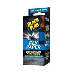 Black Flag Fly Paper Catches All flying Insects - Contains 4 Traps