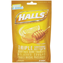 Halls Mentho-Lyptus Drops Honey-Lemon Cough Suppressant 30 Each