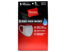 Hanes Kid's Washable Grey Face Masks 3-Ply Cotton Wicking Cool Comfort 5 each