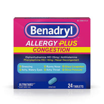 Benadryl Allergy Plus Congestion Ultra Tablets 24 Count Each