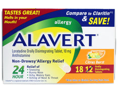 Alavert Quick Dissolving Non-Drowsy Allergy Relief Tabs Citrus Burst 18 Count