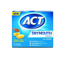ACT Dry Mouth L Ounceenges with Xylitol, Sugar-Free, Honey-Lemon, 18 Count