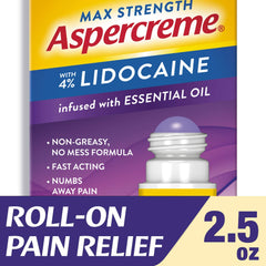 Aspercreme Max Strength 4% Lidocaine Roll On Lavender 2.5 Ounce