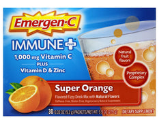 Emergen-C Immune Plus 1,000 mg Vitamin C Super Orange Fizzy Drink Mix 30 count