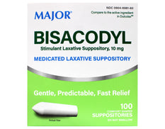 Major Bisacodyl Medicated Stimulant Laxative Suppository 100 Comfort Shaped Suppositories, 10 mg each
