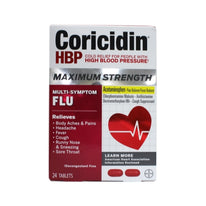 Coricidin HBP Tablets Maximum Strength Flu 24 Tablets Each