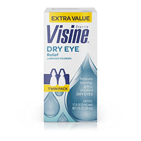 Visine Dry Eye Relief Lubricant Eye Drops 0.50 Ounce 2 Count Each