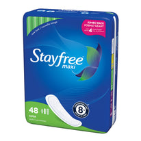 Stayfree Maxi Pads for Women Super - Dry Cool and Comfortable 48 Count
