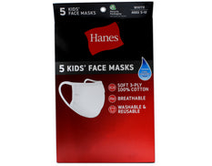 Hanes Kid's Washable White Face Masks 3-Ply Cotton Wicking Cool Comfort 5 each