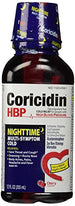 Coricidin HBP Nighttime Multi-Symptom Cold Liquid Cherry 12 Ounce Each