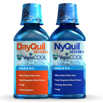 Vicks Dayquil Nyquil Severe Vapocool Cold & Flu 10 Alcohol 12 Oz Each
