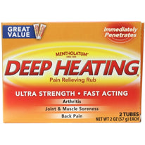 Mentholatum Ultra Strength Deep Heating Pain Relieving Rub 2x2Oz Tubes Ea