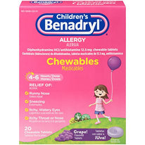 Childrens Benadryl Allergy Chewables Grape 20 Tablets Each