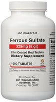 Sun Pharma - Ferrous Sulfate Film Coated Red Tablets 325 mg. 1000 Tablets Each