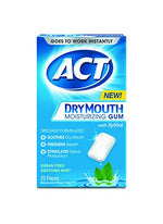 ACT Dry Mouth Moisturizing Gum, Sugar-Free, Soothing Mint, 20 Count